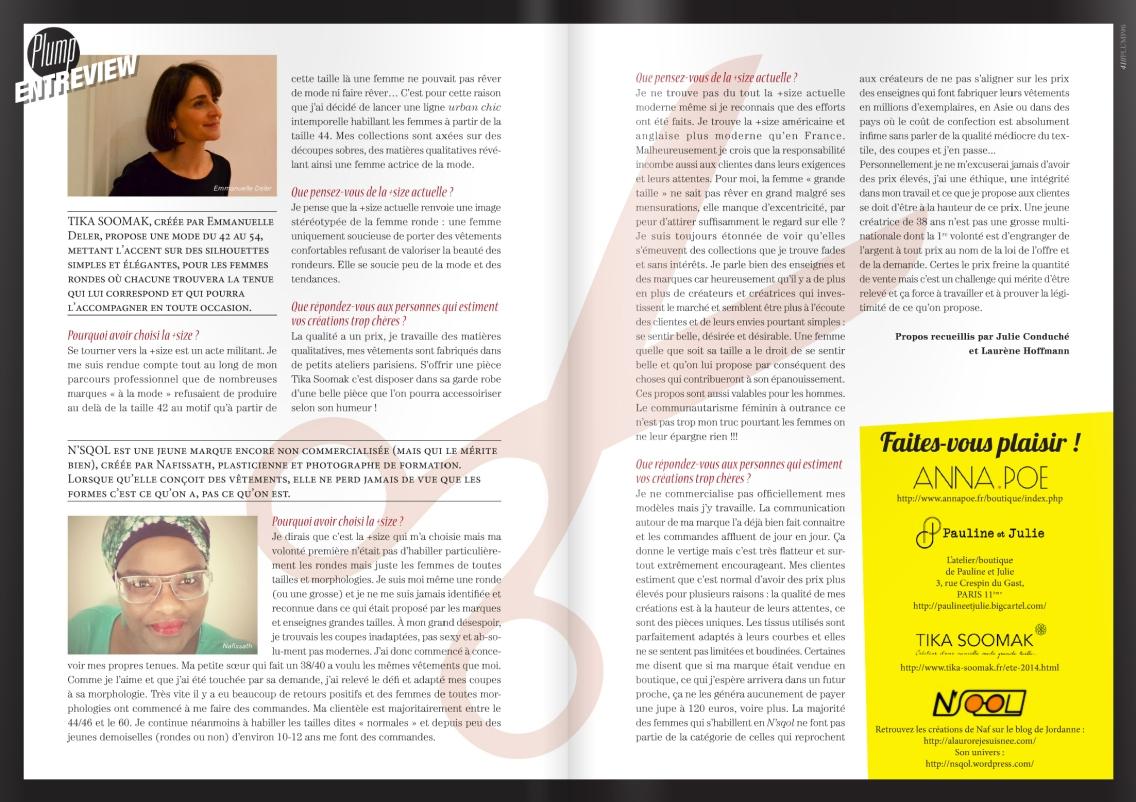J'ai eu le plaisir d'être interviewée par Julie et Laurène du magazine PLUMP. Merci les filles !