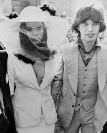 Bianca et Mick Jagger lors de leur mariage en 1971