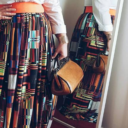 Skirt and Fabrics prints by Nafissath Abdoulaye Aka N'sqol